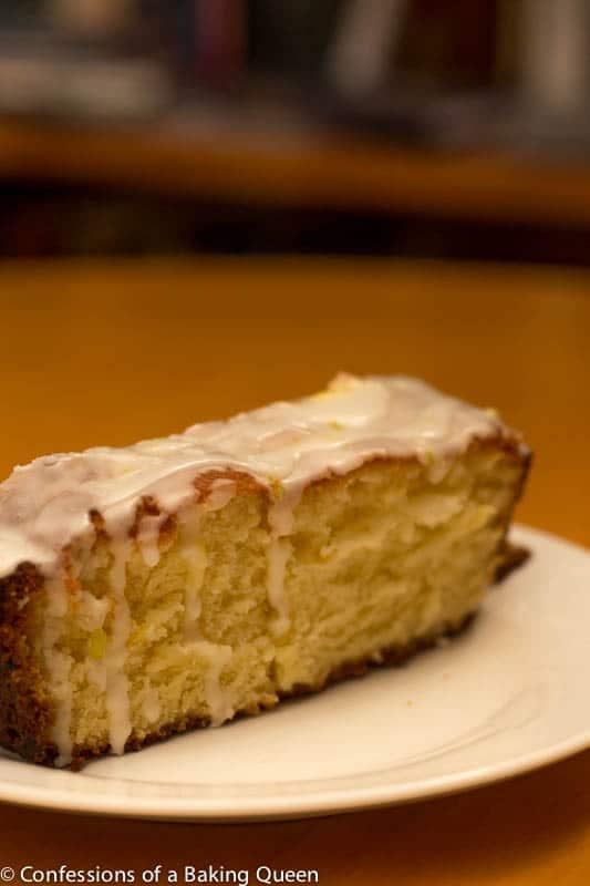 front view of Lemon Loaf Lemon Glaze on a white plate