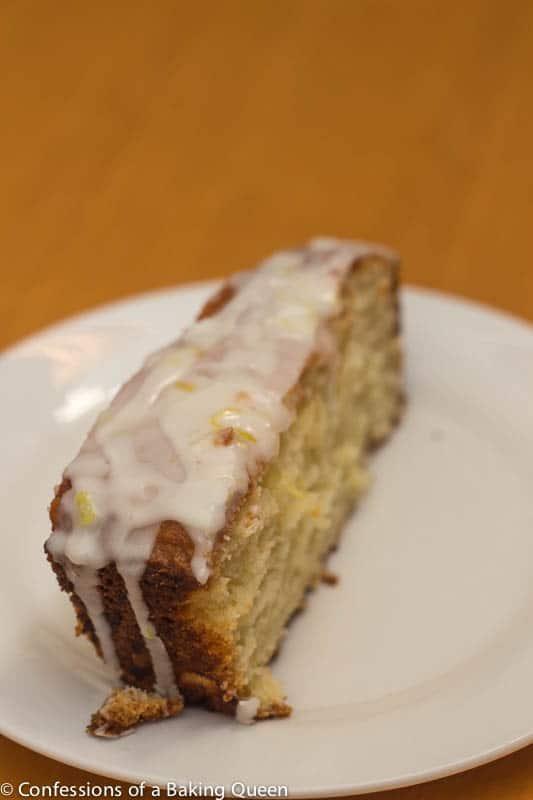 up close of Lemon Loaf Lemon Glaze on a white plate