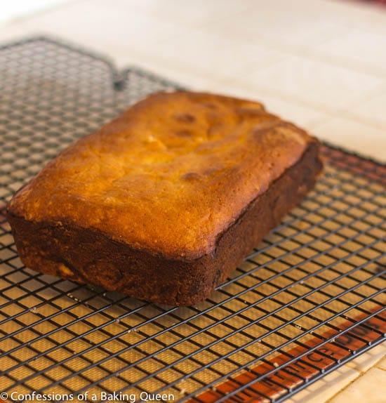 Lemon Loaf cake cooling on a wire rack