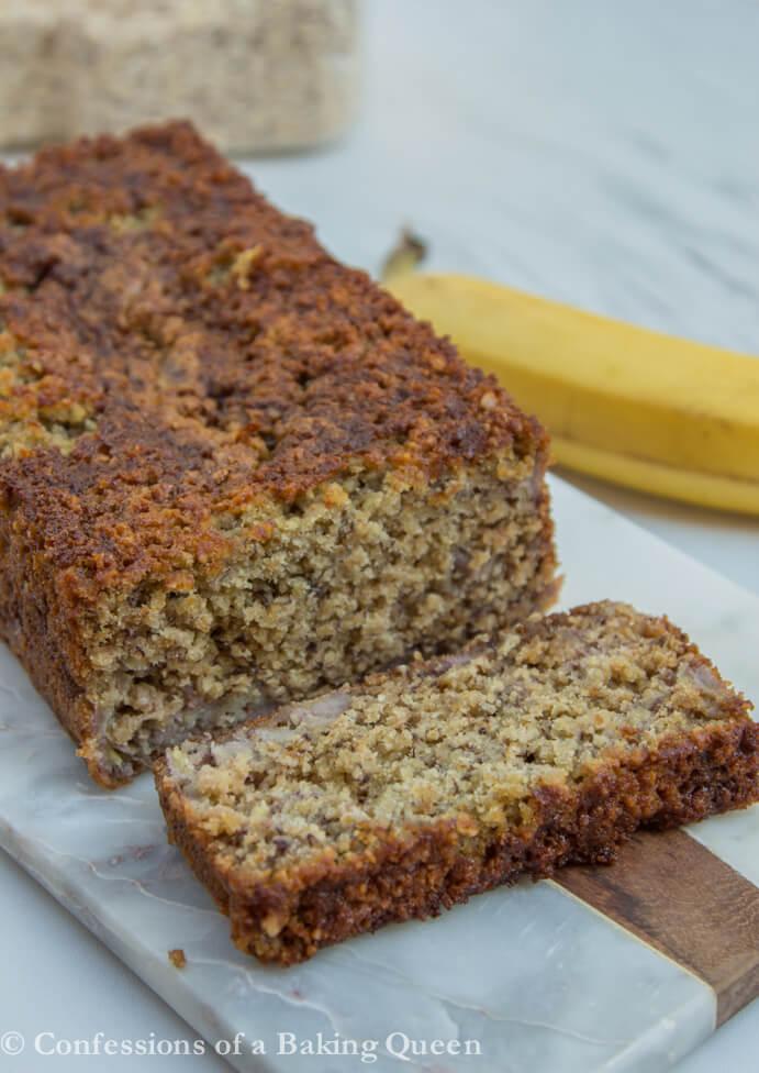 Oat Flour Banana Bread cut open