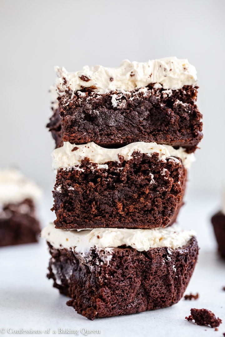 three guinness brownies stacked on top of each other
