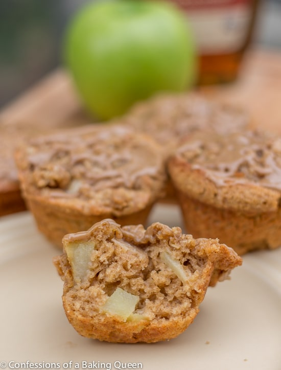 Apple Muffins w/ Maple Glaze opened up on a cream plate