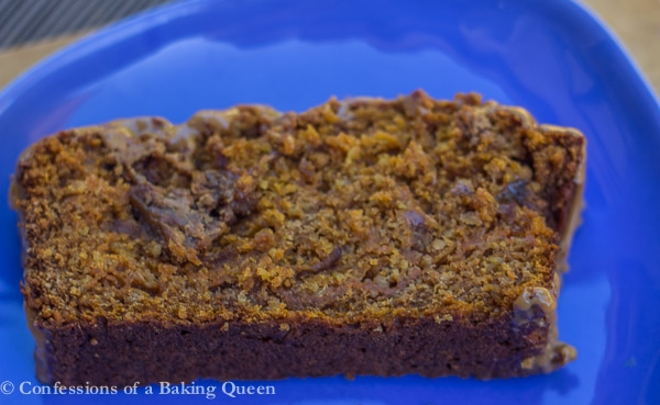 Cookie Butter Pumpkin Bread close up of bread filling on a blue plate