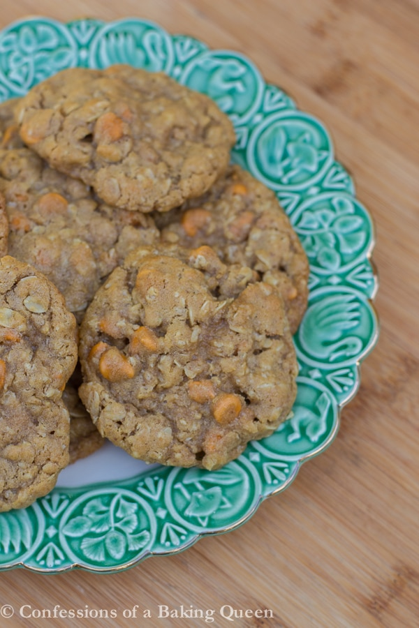 Cookie Butter Oat Butterscotch Cookies on a white plate with green rim