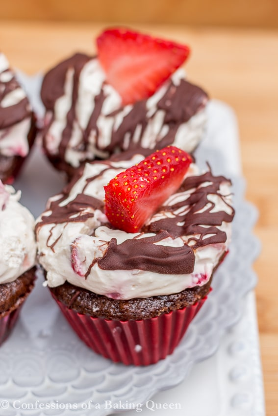 Strawberry Chocolate Cupcakes on a white plate