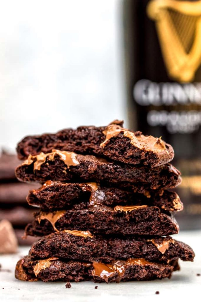 guinness chocolate cookies stacked with oozing chocolate