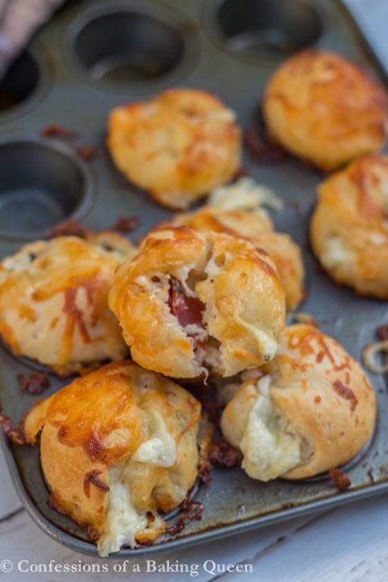 Cheesy Garlic Monkey Bread Bites baked in a mini muffin pan