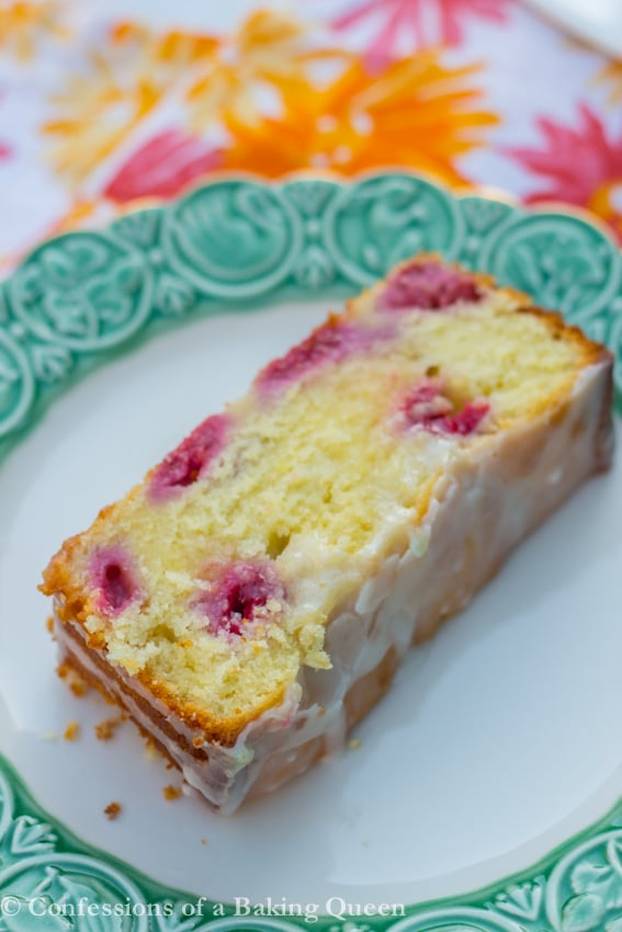 Raspberry Lemon Loaf Cake www.confessionsofabakingqueen.com