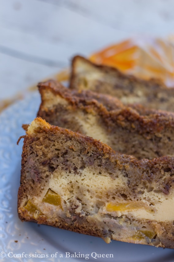 up close of Peaches & Cream Banana Bread slices on a blue plate