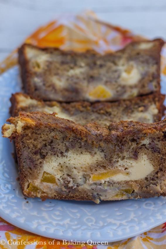 Peaches & Cream Banana Bread www.confessionsofabakingqueen.com