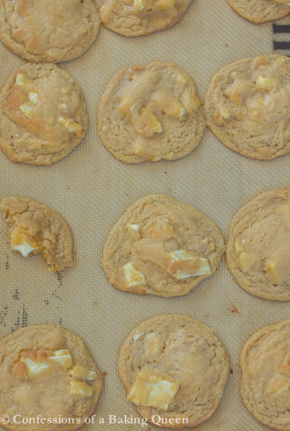 Chewy White Chocolate Cookies baked on a baking sheet