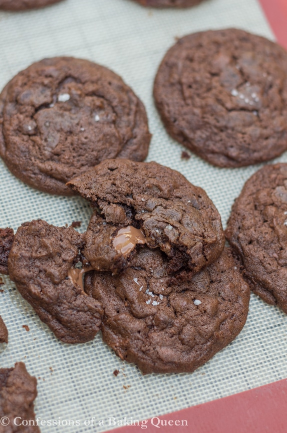 Sea Salt Double Chocolate Cookies Recipe www.confessionsofabakingqueen.com