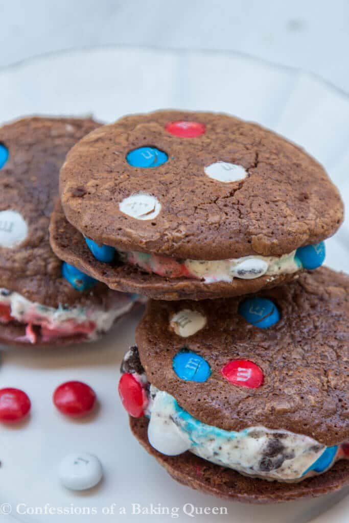 Brownie Cookie Ice Cream Sandwiches stacked