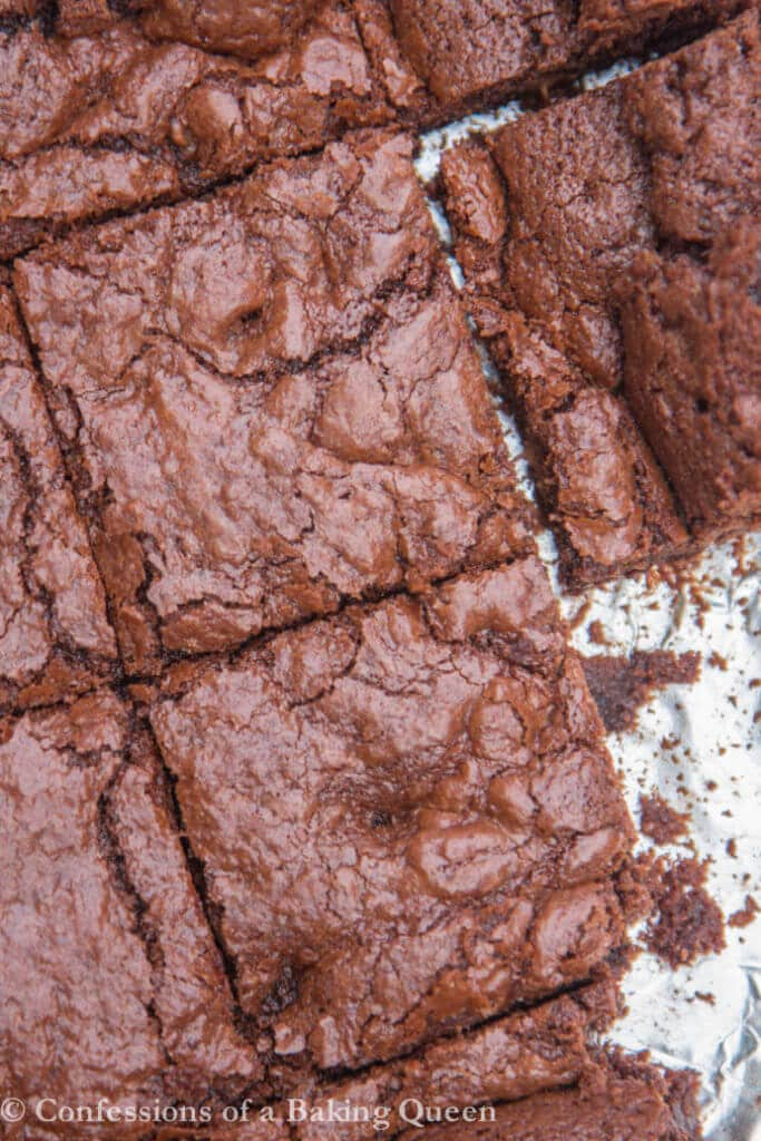 chewy brownies baked and cut on foil
