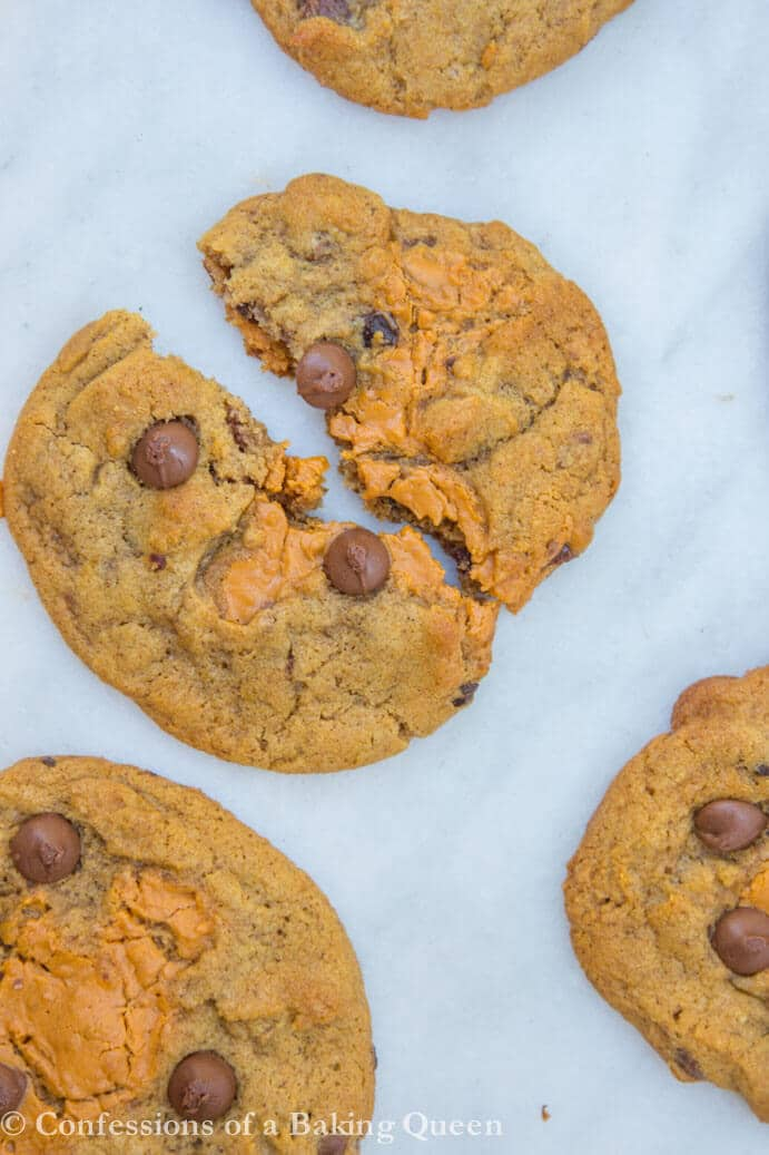 Pumpkin Chocolate Chip Cookie Butter Cookies one broken in half on white marble background