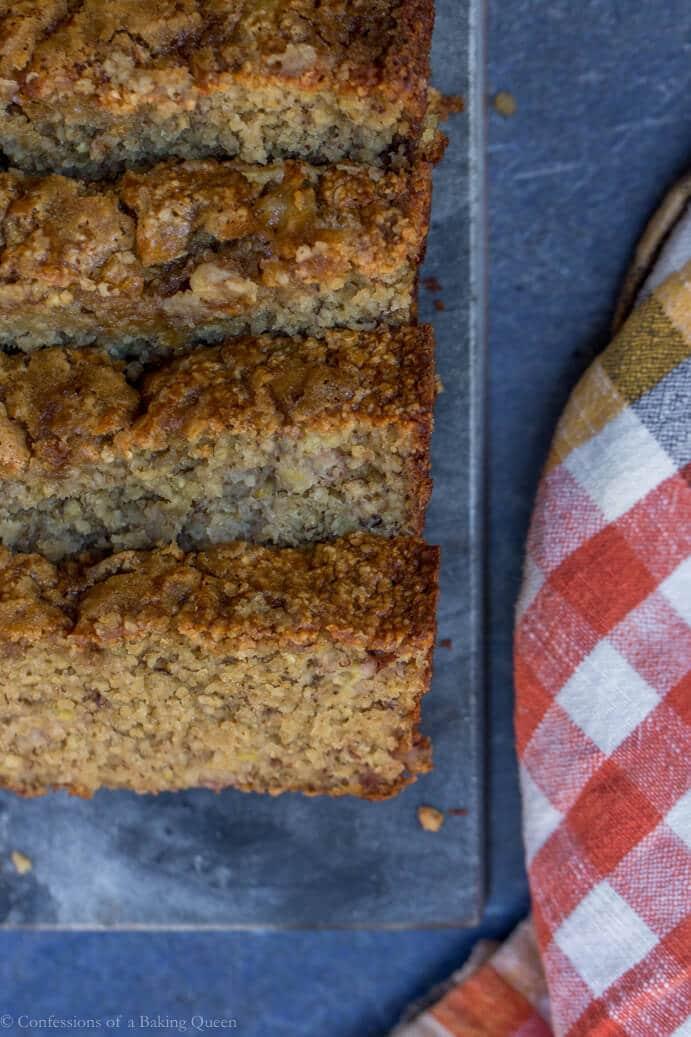 skinny oat flour banana bread baked on marble board
