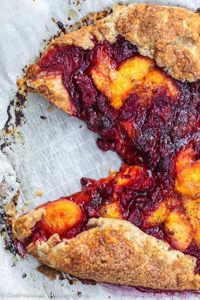Peach Raspberry Galette Recipe with a slice cut out