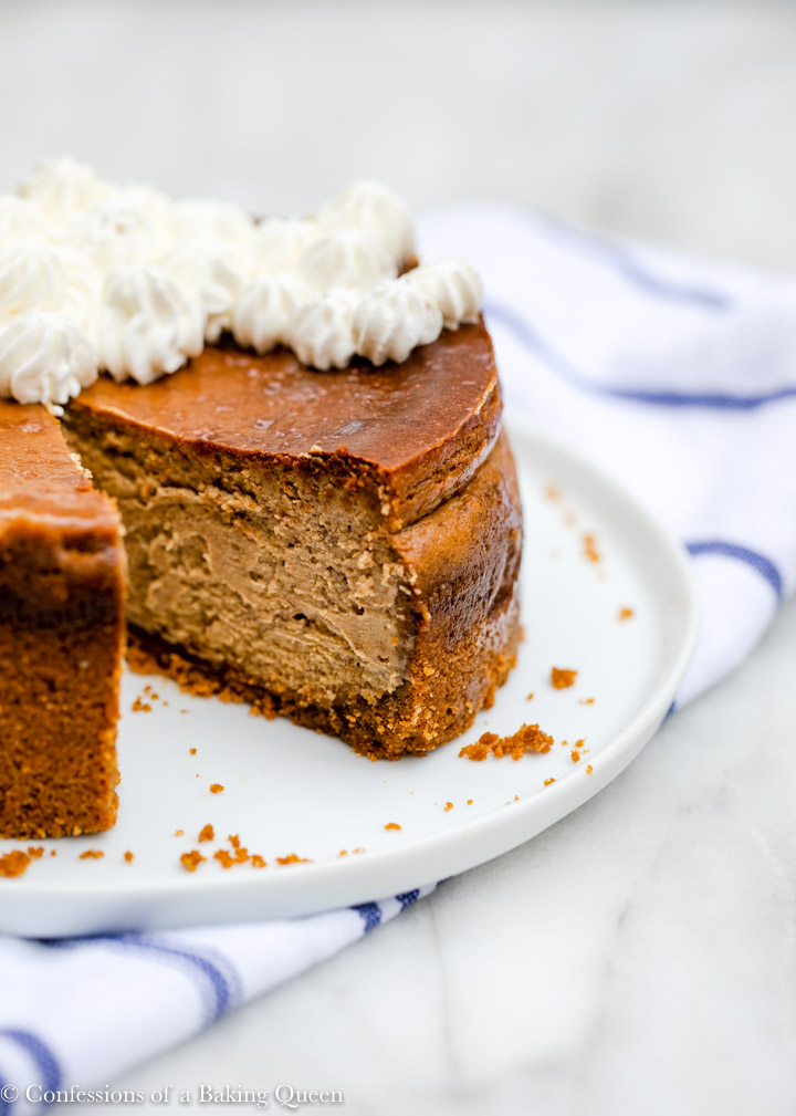 gingerbread cheesecake missing a slice