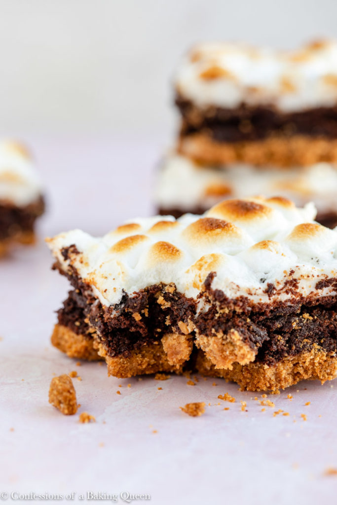 s'mores brownies missing a bite