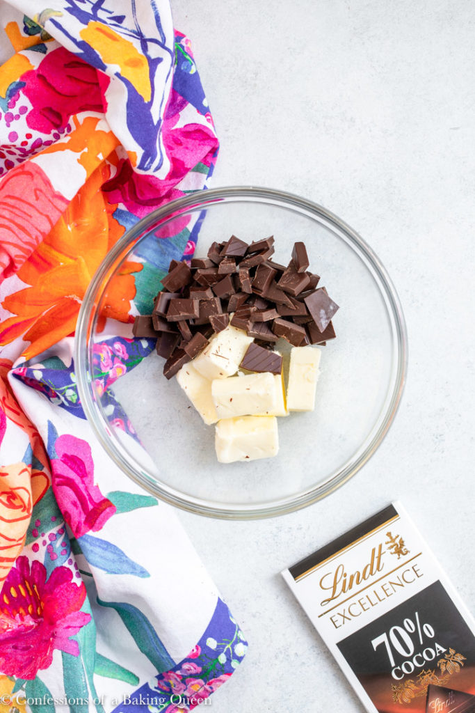 butter and chocolate in a glass bowl