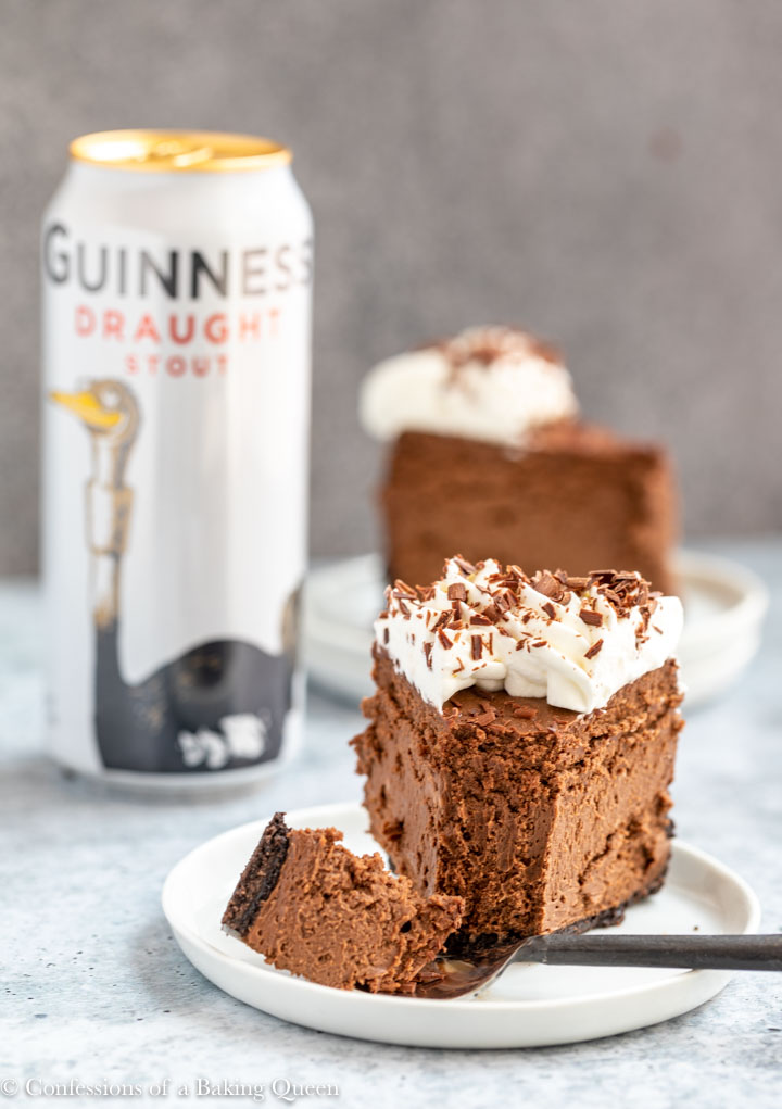 fork taking a bite of guinness cheesecake