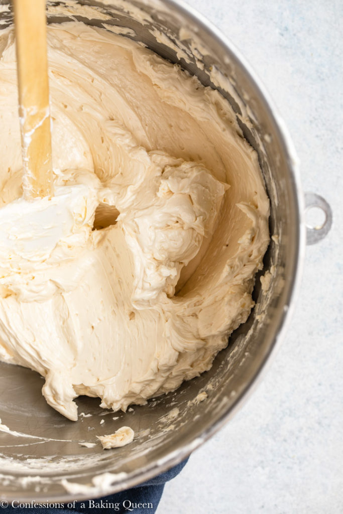 baileys Swiss meringue buttercream ready to pipe in a metal mixing bowl