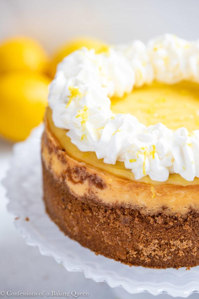 close up of lemon curd cheescake